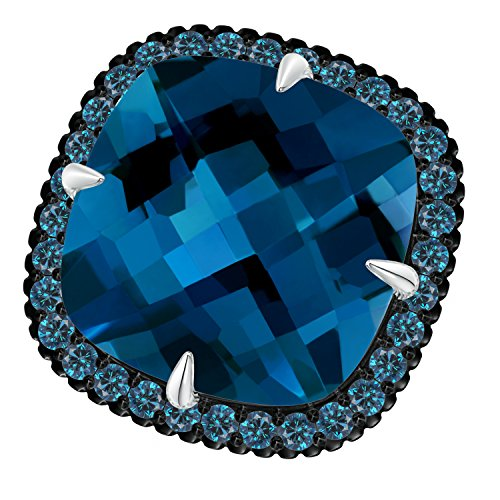 Angara.com - 14 Kt Weißgold Kissenschliff London Blue Topaz (Ring Blue In London Weissgold Topas)