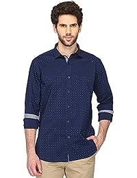 Vettorio Fratini By Shoppers Stop Mens Regular Collar Printed Dark Blue Shirt