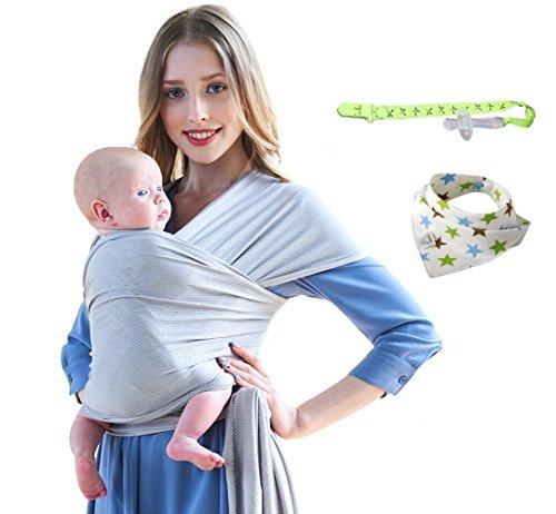 Fascia porta Bebè estiva Grid cloth porta bebé Cotone naturale morbido e confortevole Elastica babywrap Traspirante sacchetto per bambino neonato per uomo e donna (Grigio chiaro)