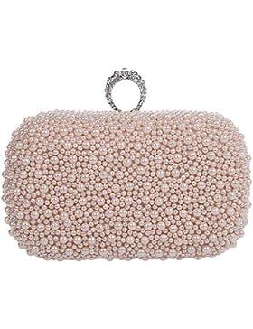 MNBS Damen Abendtasche Clutch Handgelenktasche Unterarmtasche Handtasche auffällig edel Damentasche mit Perlen...