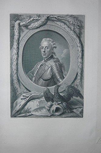 Portrait. Halbfigur nach links in historisierender Rüstung in Oval. Kupferstich von Johann Friedrich Bause nach Anton Graff. (Rüstung Prinz)