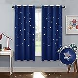 PONY DANCE Gardinen Sterne Blau - Blickdichte Vorhänge mit Ösen Sterne Aushöhlen Vorhang für Kinderzimmer Junge Dekoschals, 2 Stücke H 137 x B 116 cm