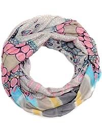 Kandharis Damen Loop Schal Loopschal weicher Herbst Frühling Schlauchschal mit Kreisen Blumen Punkte Tupfen Retro Muster