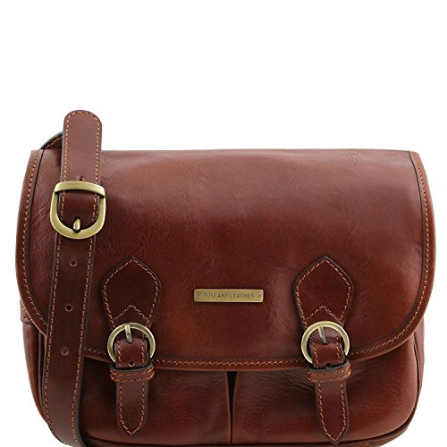 Tuscany Leather Giulia - Borsa a tracolla in pelle con pattella - TL141481 (Nero) Marrone
