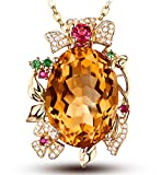 AmDxD Joyería Collares Pendientes para Mujer 14K de Oro Ovalado Floreciente Flor Citrine Colgante Oro Rosa 14K
