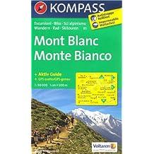 Mont-Blanc carte de randonnée 1:50.000 KOMPASS N ° 85