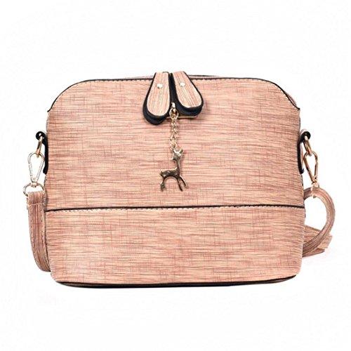 Handtasche Damen Btruely Mädchen Messenger Crossbody Vintage Tasche Damen Kleines Shell Leder Handtasche (Rosa) (Zwei Bag Tasche Leinwand Messenger)