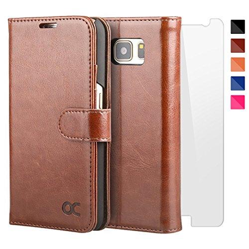 OCASE Samsung Galaxy S7 Hülle, Handyhülle Samsung Galaxy S7 [ Gratis Panzerglas Schutzfolie ] [Premium Leder] [Standfunktion] [Kartenfach] [Magnetverschluss] Leder Brieftasche für Galaxy S7 Braun