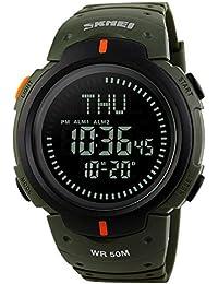oumosi deportes al aire libre los relojes de pulsera brújula reloj LED para hombres