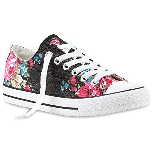 stiefelparadies Damen Sneakers Blumen Freizeit Denim Sneaker Low Stoff Turn Schuhe 114360 Schwarz Blumen-Muster 36 Flandell