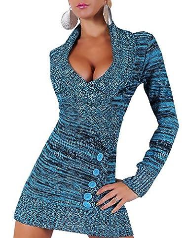 Hikenn Damen langarm Strick Long Sweet Pullover Kleid Minikleid V-Ausschnitt ((34/36/38)Einheitsgröße, Blau)