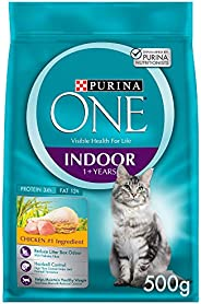 Purina One Adult Indoor Cat Food with Chicken 500g(Pack of 1)