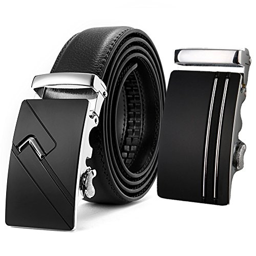 AKPOWER Men's Leather Belt - Automatic Leather Belts With Ratchet Buckle