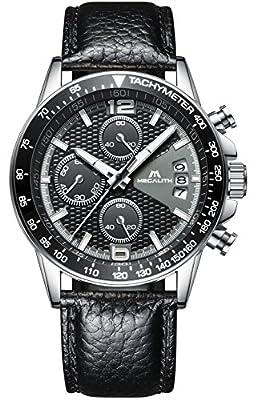 Relojes de Hombre Negro Cuero Relojes Militares Marea Deportivo Impermeable Lujo Cronometro Fecha Calendario Reloj de Pulsera Moda Vestidos Casuales Caballero Analogico Cronografo Cuarzo