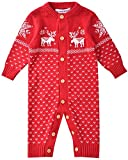 Zoerea Unisex Neugeborenes Baby Strampler Lange Ärmel Weihnachten warme Pullover mit Elch Hirsche Schneeflocke Muster Mantel für die Saison Frühling (Rot, Etikett 80 (ca. 8-12 Monate))