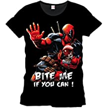 Deadpool Marvel camiseta Bite Me If You Can algodón color negro