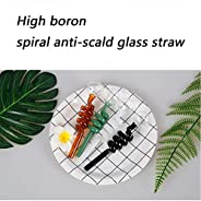 High boron spiral anti-scald glass straw