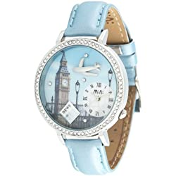 Oh My Lady* Innovative 3D Miniature Big Ben, Airplane, Newspaper, London City Travelling Themed High Qaulity Waterproof Watch with Delicate Handcraft Clay - Gift Boxed