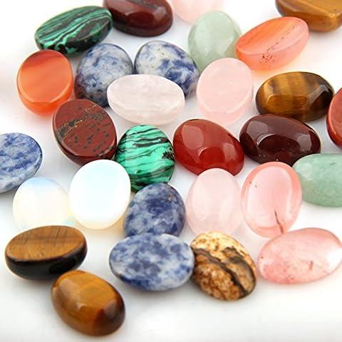 Cmidy Mutilcolor 12pcs 10x14mm Oval Teardrop Randow Color CAB Cabochon Beads Crystal Quartz Stone Wholesale for Jewelry Making