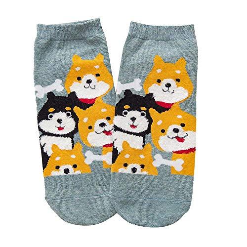 Unisex Baumwollsocken Bedruckte Bootssocken, Kätzchen, Shiba Inu Cartoon Tier Socken, Herbst und Winter Dicke warme Socken, Hausschuhe Socken (Grün4) - Socke-tier-mustern