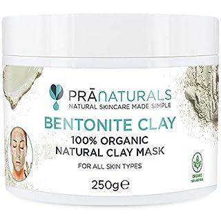 PraNaturals Bentonite Clay Mask, Natural Deep Skin Pore Cleansing Montmorillonite Calcium Active Pure Clay Mask Powder, 100% Organic Detox Anti-Ageing and Healing Facial Beauty Mask … (250g Pot)