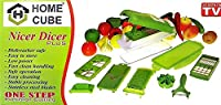 HOME CUBE® High Quality 10 in 1 Fruits And Vegetable Cutter - Nicer Slicer Dicer, Chopper, Grater, Peeler - All In One (GREEN)