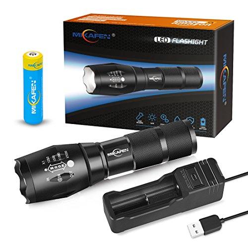 MIKAFEN Linterna LED Recargable, Linterna Táctica con Cargador USB y Batería Pila...