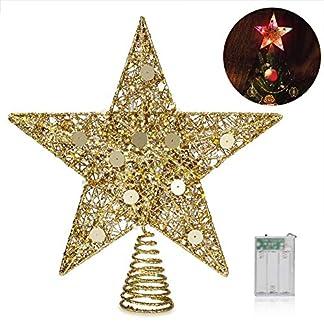 LED Navidad Pentagram, Delicacy Estrella de del árbol top de Navidad, Luces de árbol con Cambio de Color Automático para Decoración Navideña, Hogar, Habitación