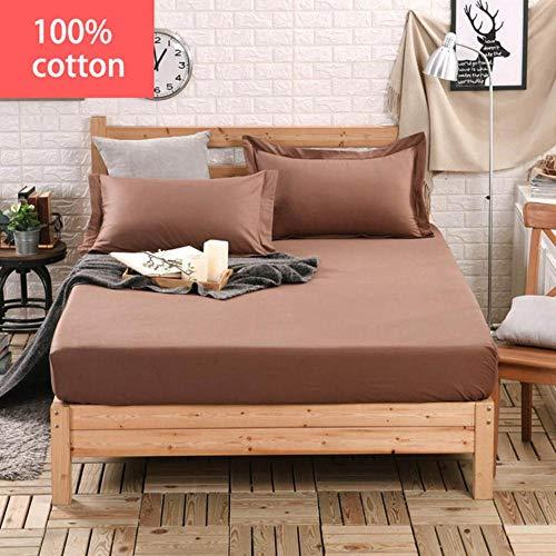 PENVEAT 100% Baumwolle Volltonfarbe Bett Spannbetttuch Matratzenbezug Four Corners Bettlaken mit Gummiband Bettwäsche Großhandel, Braun, 120x200cm