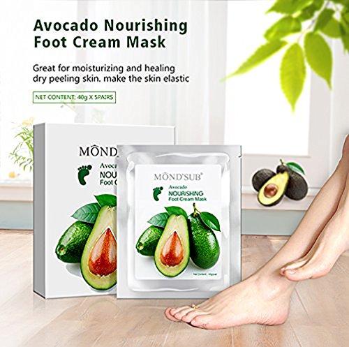 MEINAIER Holisouse schältende Fußmaske, Entfernen Tote Haut Fuß Peeling Maske, und Sie bekommen eine bequeme Berührung des Fußes wie bei der Babyhaut, mit Avocado nährende Fußmaske (2 Paare)