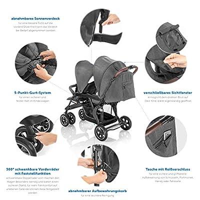 Hoco Tandem - Carrito gemelar para 2 niños, pequeño y plegable, con mecanismo de plegado con una sola mano, color gris