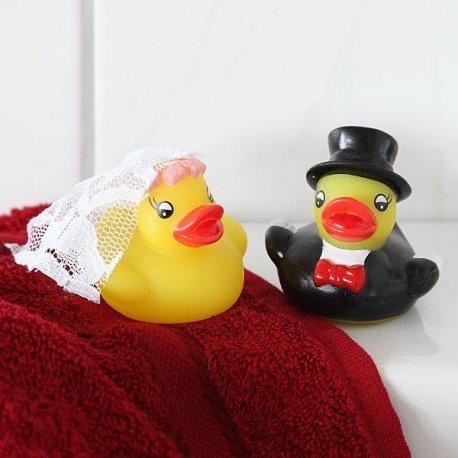 Ente Hochzeitspaar Quitsche 2 Entchen Badeentchen - 3