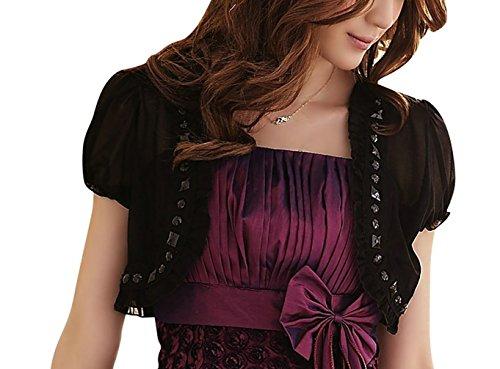 Frauen Kurzarmshirts Elegante Bolero-Jacke in Beige Schwarz und WeissBusiness Mantel Damen Chiffon Boleros Kurzshirt Bluse Abendkleid (Chiffon Mantel Abendkleid)