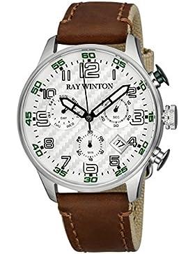 Ray Winton Herren Sport Chronograph Strukturierte Silber Zifferblatt braun Leder/Canvas Armbanduhr