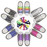 CODIRATO 6 Paires Lacets de Silicone No Tie Lacets Enfant Adulte Lacets Elastiques Etanche pour Sports Shoes Sneaker Conseil Bottes
