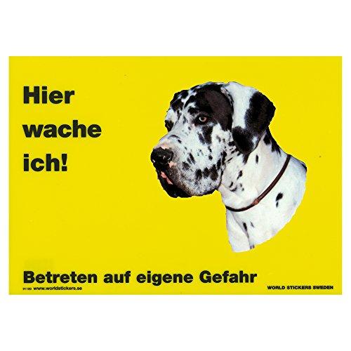 Warnschild Hier wache ich gelb 28 x 20 cm inkl. Aufkleber Dogge harlekin (Harlekin Dogge)