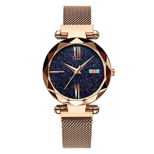 Damenuhr-Magnet-Uhr-Quarz-Armbanduhr-Uhren Sternenhimmel-Vorwahlknopf-Diamant-Ausschnitt Keine Schnalle-Edelstahl-Maschen-Gurt-Uhr mit einzigartigem Magnet-Verschluss (Gold)