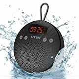 VTIN Haut-Parleur Bluetooth Etanche avec Radio FM et Réveil Enceinte Bluetooth sans fil Waterproof Speaker de Douche Plage Piscine pour iPhone 7 7 Plus 6S 6S Plus SE, iPad, Nexus, HTC, Blackberry, Google, Wiko, XiaoMi, HuaWei, ZTE, etc