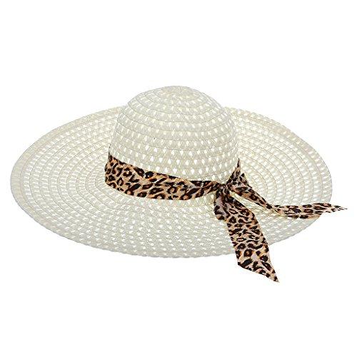 Générique Femmes Plage Chapeau de Large Bord Pliable Chapeau De Soleil D'été en Paille avec Bowknot