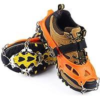 Sportneer Clavos de Agarre en Nieve Crampones 19 de Dientes para Adaptable a Zapatos o Botas Proporciona protecci/ón Segura para Caminar XL L Escalada o Senderismo en la Nieve Tallas M
