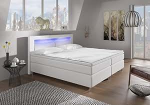 Boxspringbett 140x200 mit LED Beleuchtung und Chromleiste