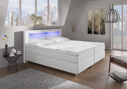 Wohnen-Luxus Designer Lederlook Boxspringbett mit LED Beleuchtung und Chromleisten Hotelbett Doppelbett Polsterbett Ehebett amerikanisches Bett Chrom Modell Brüssel Typ 3 (160x200)