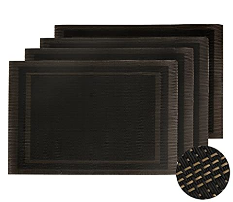 Deconovo Lot de 4 Sets de Table Or Deco Table Jardin Antidérapants Imperméable Géométrique 30x45cm Noir et Or