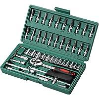 46 pzas Herramienta de reparación automática Juego de combinación de llaves Juego de reparación Herramientas de hardware Herramienta de funda de automóvil (Color : Green)