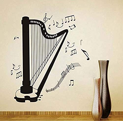 Glas-harfe (Wandaufkleber Selbstklebende DIY Wohnkultur Harfe Silhouette Alle Art Musiknote Wohnzimmer Musikzimmer Dekorative Harfe Wandaufkleber Abnehmbare)