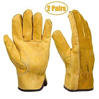 Heavy Duty Gardening Gloves, Xndryan 2 Pairs Breathable and Flexible Garden Work Gloves for Men, Women, Durable Leather Safety Work Gloves for Garden, Yard, Mechanic, Welding (Medium)