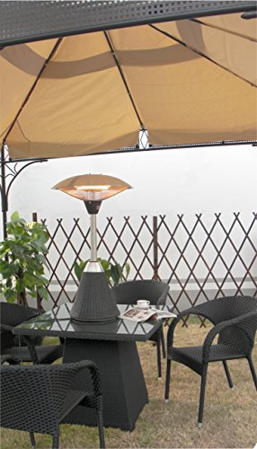 Firefly 2.1kW Table Top Electric Infrared Halogen Garden Outdoor Patio Heater with Rattan Base and 3 Heat Settings (Black)