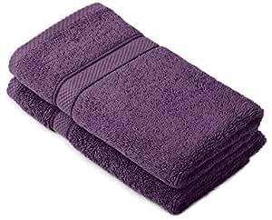 Pinzon by Amazon - Set di asciugamani in cotone egiziano, 2 asciugamani per le mani, colore: prugna