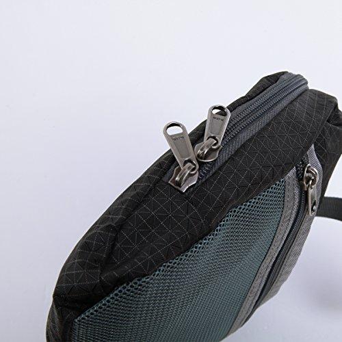 RULOTE 002 Männer Schultertasche Verstellbare Umhängetasche Reißverschluss Echtleder Leder Nylon Tuch Rechteckige Tasche 29 * 25 * 8cmcm Schwarz