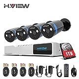 1080P Überwachungskamera System 4 x 1080P Wetterfest HD-Kamera Außen und 4CH DVR mit 1TB Festplatte 1080P Überwachungskamera Set Bewegungsmelder IR Nachtsicht